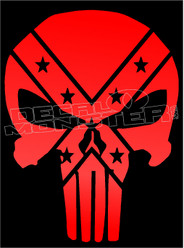 Confederate Flag Punisher 1 Decal Sticker