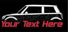 BMW Mini Cooper (Custom Text) Silhouette Decal Sticker
