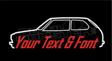 Honda Civic CVCC 1973-1979 Classic (Custom Text) Silhouette Decal Sticker