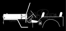 Willys Jeep CJ-3B 1953 Vintage Classic Sihlouette Decal Sticker