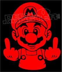 Mario Fuck You 3 Decal Sticker