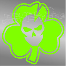 Irish Skull 3 Leafed Clover Decal Sticker