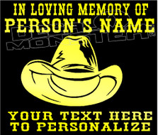 Cowboy Memorial 1 Custom Text Decal Sticker