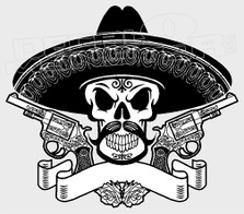 Skull and Cross-guns Mexico Outlaw Decal Sticker