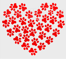Paw Prints Heart 1 Decal Sticker