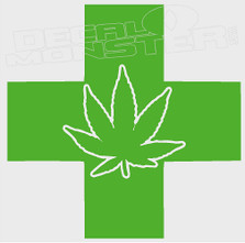 Medical Marijuana Cross Decal Sticker