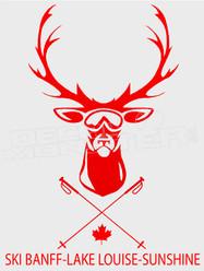 Ski Banff-Lake Louise-Sunshine Deer Goggles Decal Sticker