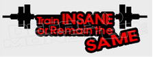 Weightlifting Train Insane or Remain the Same Decal Sticker