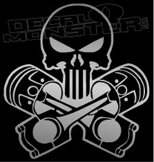 Punisher Skull Mechanic Piston Cross Decal Sticker