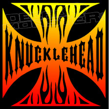 Knucklehead Iron Cross Motorcycle Decal Sticker