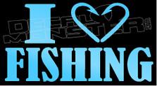 I Heart Love Fishing Decal Sticker