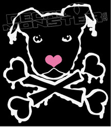 Dog and Heart Cross Bones Pit Bull Decal Sticker