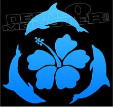 Hawaiian Dolphins Silhouette 7 Decal Sticker