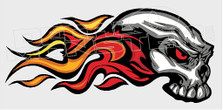 Flaming Tribal Side Skull Decal Sticker