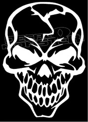 Evil Cracked Skull 2 Decal Sticker