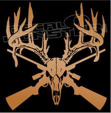 Moose Skull and Cross Guns Decal Sticker
