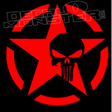 Army Star Punisher 2 Decal Sticker