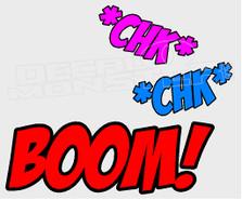 Chk Chk Boom Cartoon Decal Sticker