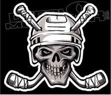 Hockey Skull and Cross Sticks Decal Sticker