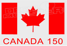 Canada 150 Flag With Text Decal Sticker