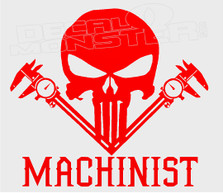 Machinist Punisher Style Decal Sticker