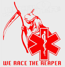 EMS We Race the Reaper Decal Sticker