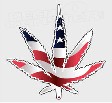 American Cannabis Pot Leaf Decal Sticker