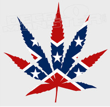 Confederate Style Cannabis Pot Leaf Decal Sticker