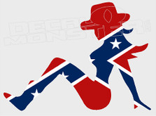 Confederate Style Trucker Cowgirl Decal Sticker