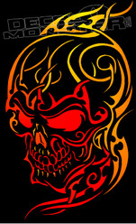 Tribal Flames Wicked Skull 13 Decal Sticker