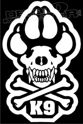 K9 Skull and Crossbones Dog Decal Sticker