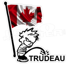 Canada Flag Calvin Pee On Trudeau Decal Sticker