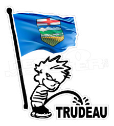 Alberta Flag Calvin Pee On Trudeau Canada Decal Sticker