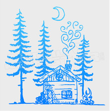 Nature Camping Log Cabin in Woods Decal Sticker DM