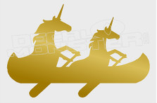 Canoe Paddling Unicorns Funny Decal Sticker DM