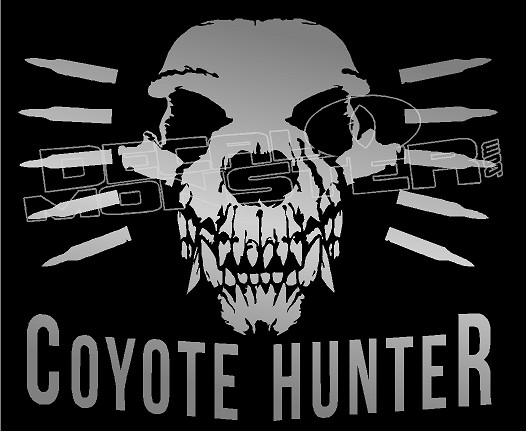 Hunting Coyote Skull Hunter Skull Gun Decal Sticker DM