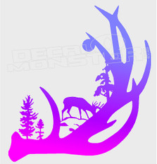 Nature Hunting Antler Harmony Silhouette Decal Sticker DM