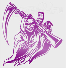 Grim Reaper Gun Sythe Silhouette Decal Sticker DM