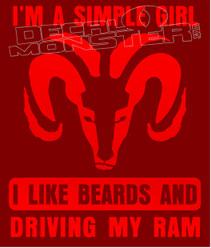 Simple Girl Beards Dodge Ram Decal Sticker DM