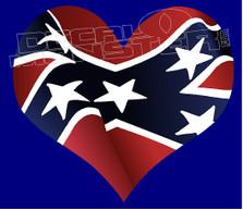 Confederate Rebel Flag Heart Love 1 Decal Sticker DM