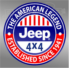 American Legend Jeep Decal Sticker DM