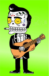 Johnny Cash Sugar Skull Edition Decal Sticker DM
