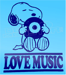 Musical Snoopy Love Music Decal Sticker DM
