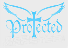 Religious Protected By the Cross Angel Decal Sticker DM