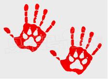Unconditional Pet Love Hands Paw Dog Decal Sticker DM