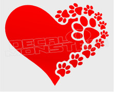 Paw Printed Heart Dog Decal Sticker DM
