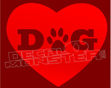 Dog Love Heart Decal Sticker DM