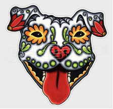 Pit Bull Sugar Skull Dog Decal Sticker DM