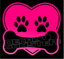 Dog Heart Paw Prints & Bone Decal Sticker DM
