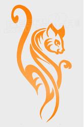 Tribal Feminine Cat Decal Sticker DM